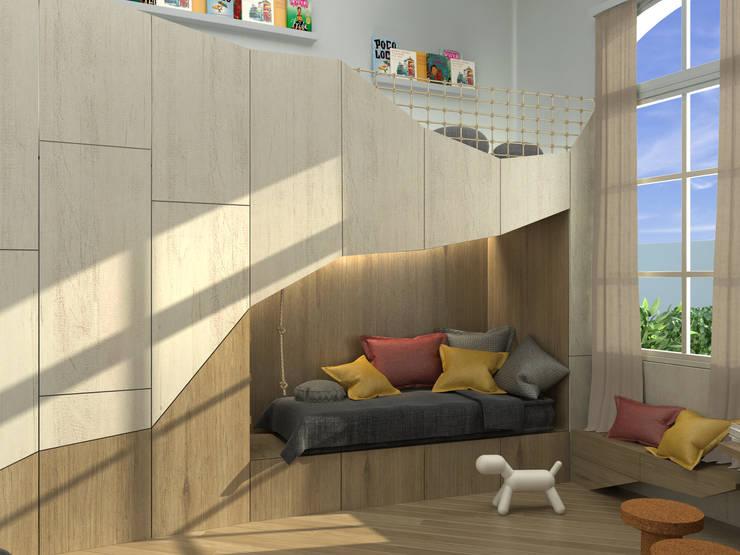 Render de proyecto La cueva del Oso: Dormitorios infantiles de estilo  por Barragan Carpinteria,