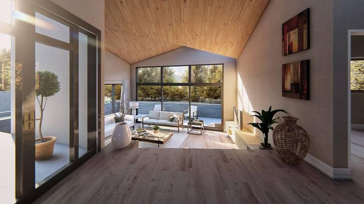 Vista estar hacia terraza:  de estilo  por Lagom Studio