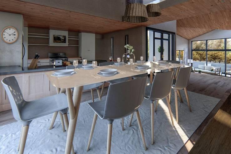 Vista desde comedor hacia cocina:  de estilo  por Lagom Studio