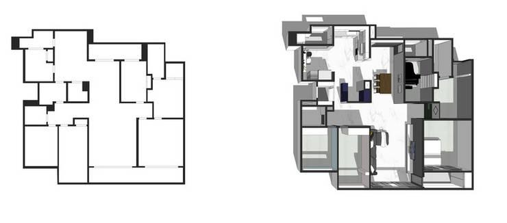 25년된 아파트의 재탄생 [꿈마을 한신 아파트 61평 리모델링]: YONG DESIGN의  거실,모던