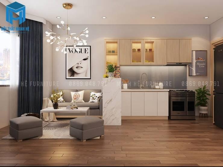 Bộ ghế sofa nệm chân gỗ:  Phòng khách by Công ty TNHH Nội Thất Mạnh Hệ