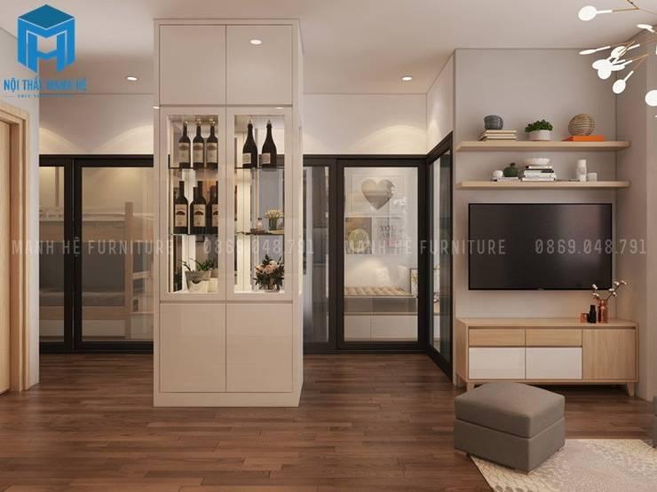 Tủ rượu màu trắng hiện đại:  Phòng khách by Công ty TNHH Nội Thất Mạnh Hệ