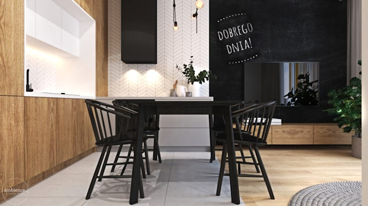 Ciepłe mieszkanie w nowoczesnym stylu: styl , w kategorii Jadalnia zaprojektowany przez Ambience. Interior Design