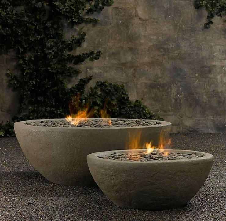 Fire Bowl a gas:  de estilo  por Grupo Cinco Chimeneas, Rústico Concreto