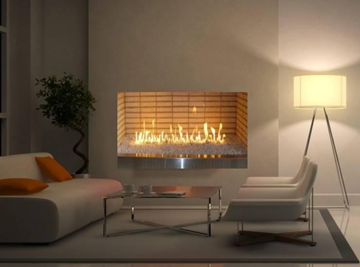 Chimenea a Gas Ventilada : Salones de estilo  por Grupo Cinco Chimeneas