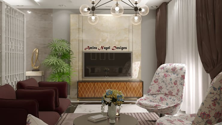 Living room by AmiraNayelDesigns, Modern