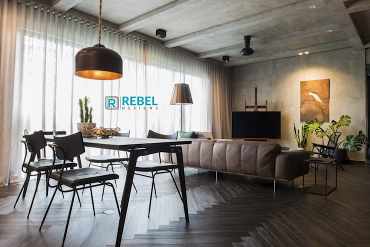 Living room in apartment 3 BHK : modern Living room by Rebel Designs