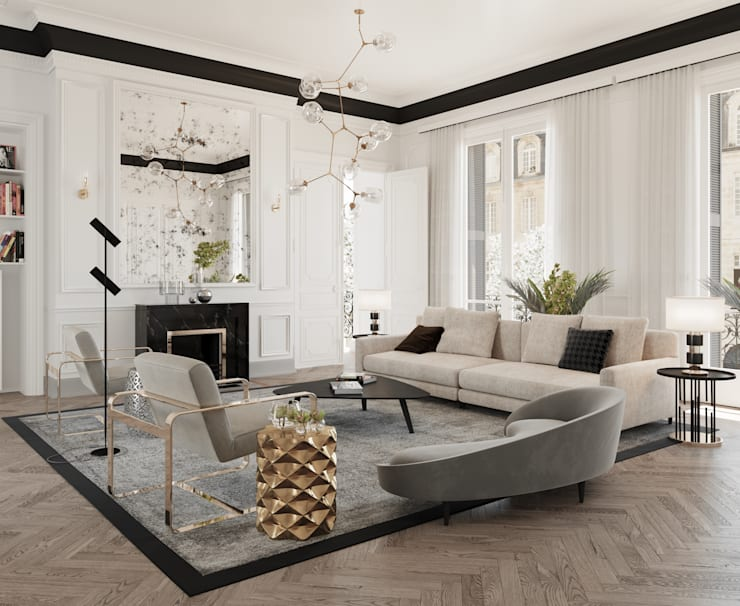 Modern Contemporary :  Living room by Dessiner Interior Architectural