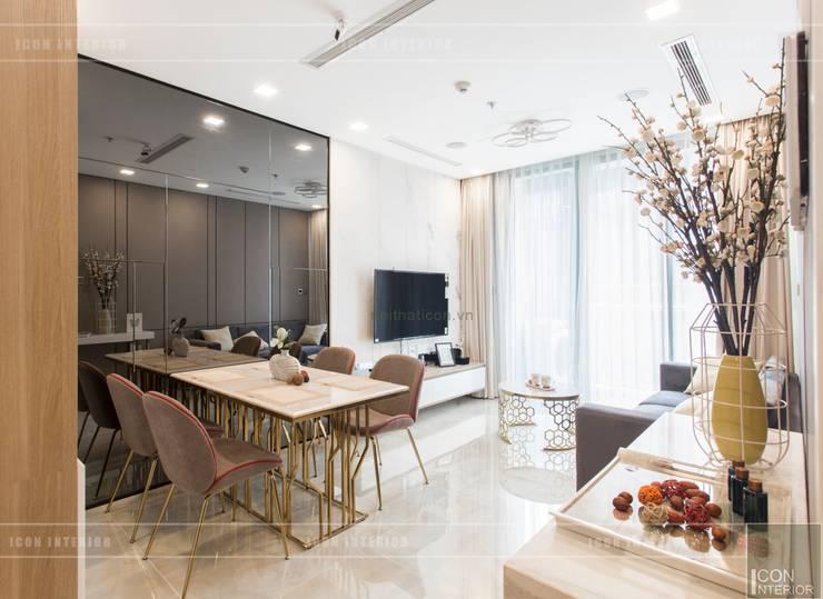 Thi công nội thất căn hộ Aqua 1 Vinhomes Golden River – Phong cách hiện đại:  Phòng ăn by ICON INTERIOR