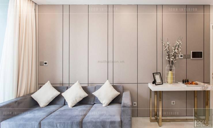 Thi công nội thất căn hộ Aqua 1 Vinhomes Golden River – Phong cách hiện đại:  Phòng khách by ICON INTERIOR