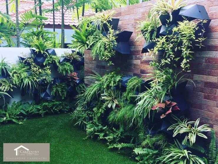 Garden wall:  Walls by Singapore Carpentry Interior Design Pte Ltd