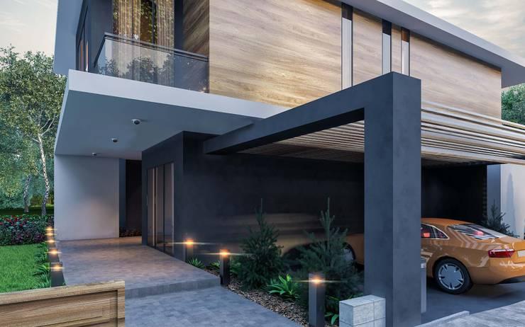ANTE MİMARLIK  – Ana bina giriş :  tarz Yanları açık garaj