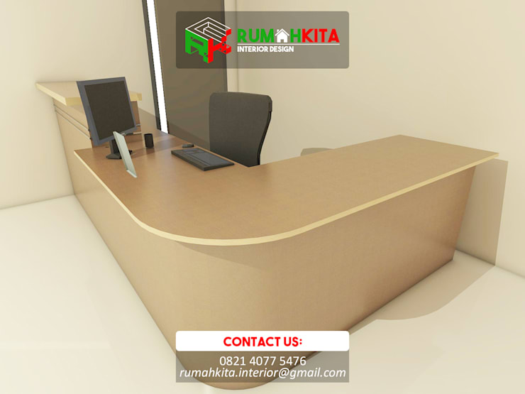 Meja Receptionist:  Study/office by RumahKita Interior