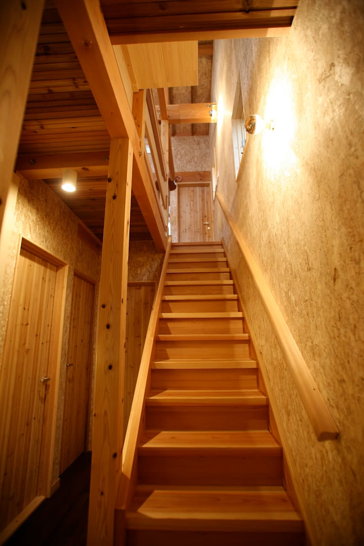 Stairs by 株式会社高野設計工房, Asian Wood Wood effect