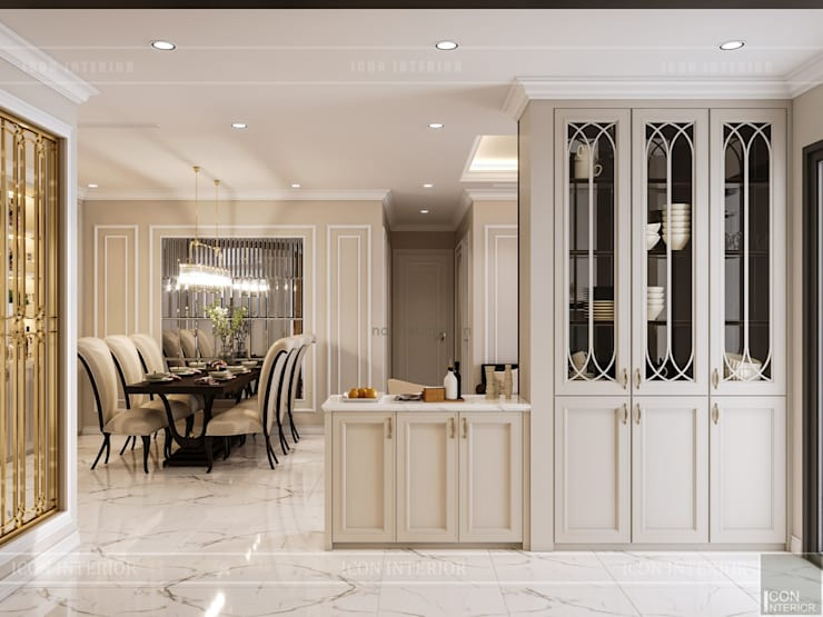Phong cách Tân Cổ Điển trong thiết kế nội thất căn hộ Vinhomes :  Nhà bếp by ICON INTERIOR