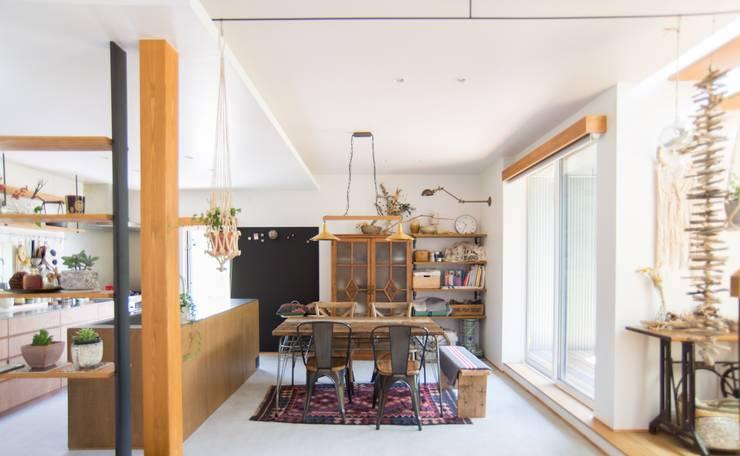 土間キッチンの家 house_in_nishiyama: タイラ ヤスヒロ建築設計事務所/taira yasuhiro architect & associatesが手掛けたダイニングルームです。