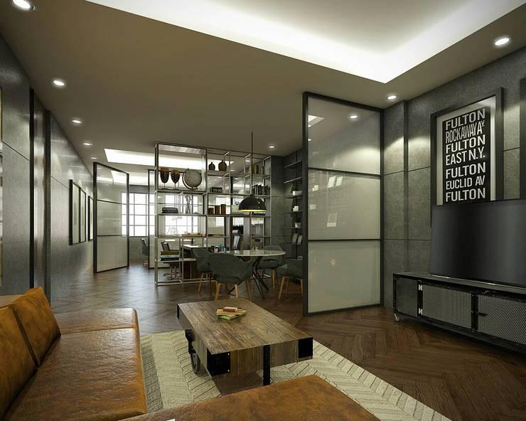 Living Room:  Ruang Keluarga by Desain Konstruksi Arsitektur