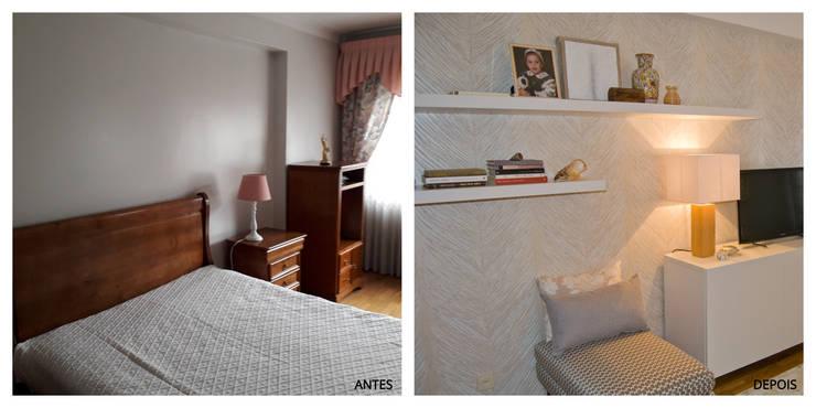 Projeto remodelação de sala TV:   por Tangerinas e Pêssegos - Design de Interiores & Decoração no Porto