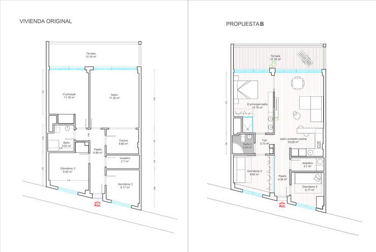 Distribución original y propuesta:  de estilo  de Loft 26