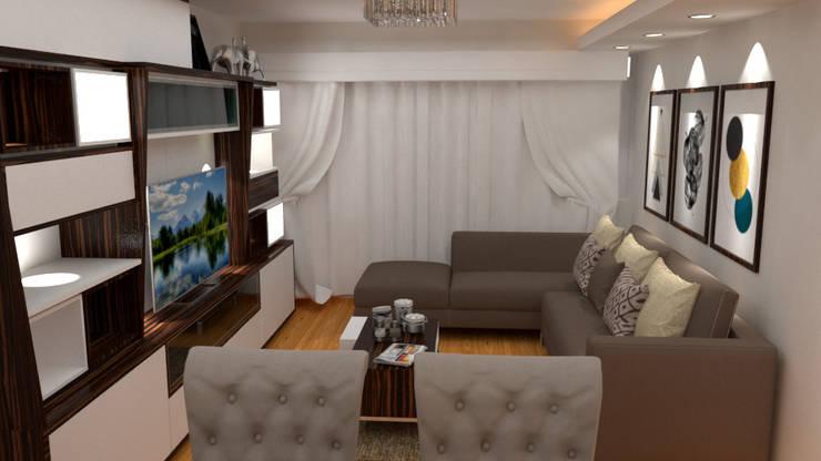 Sala – Comedor: Sala multimedia de estilo  por DIS.OLIVER QUIJANO