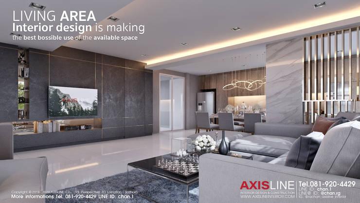 ออกแบบตกแต่งภายในห้องนั่งเล่น (Living room):  ตกแต่งภายใน by บริษัทแอคซิสลาย จำกัด