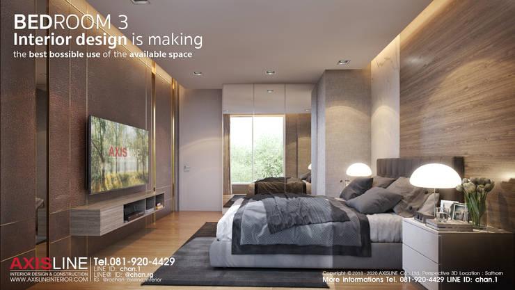 ออกแบบตกแต่งภายในห้องนอน 3 (Bedroom3):  ตกแต่งภายใน by บริษัทแอคซิสลาย จำกัด
