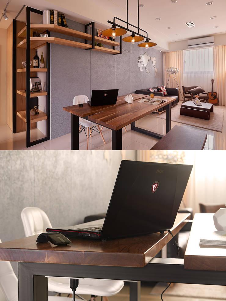 Q:餐桌也可以當工作桌?而且桌子不需要被固定!:  餐廳 by 趙玲室內設計