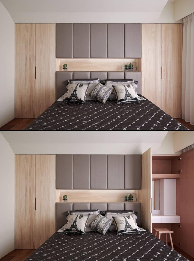 Q:梳妝台收納。:  臥室 by 趙玲室內設計