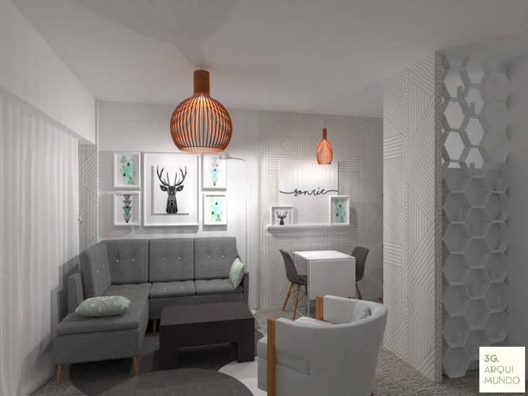 Diseño de Interior de Monoambiente por 3G Arquimundo: Livings de estilo  por Arquimundo 3g - Diseño de Interiores - Ciudad de Buenos Aires,