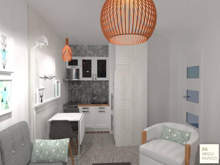 Diseño de Monoambiente en Buenos Aires: Cocinas de estilo  por Arquimundo 3g - Diseño de Interiores - Ciudad de Buenos Aires,
