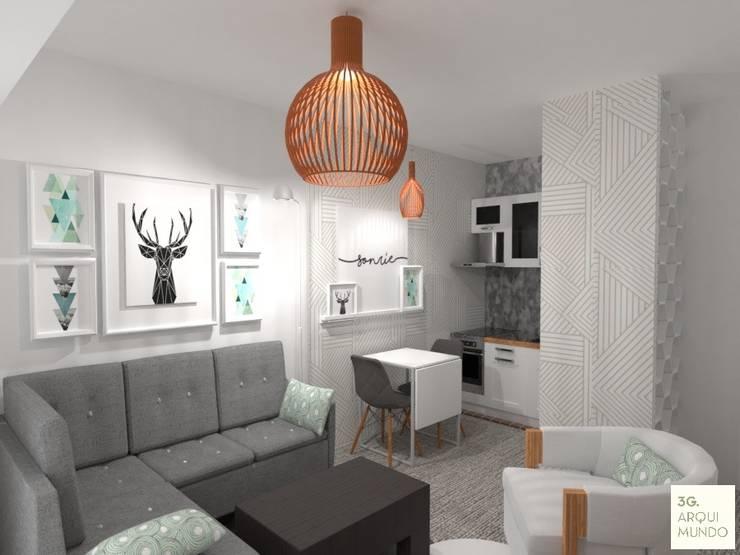 living : Livings de estilo  por Arquimundo 3g - Diseño de Interiores - Ciudad de Buenos Aires,