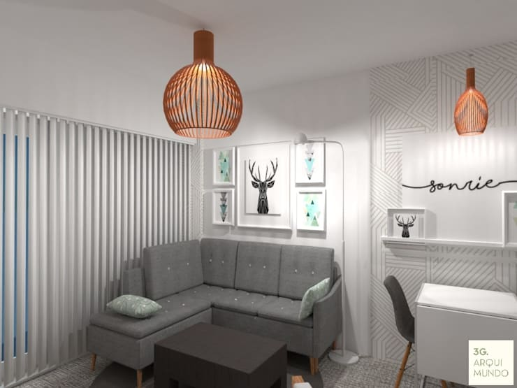 Diseño de Monoambiente en Buenos Aires : Livings de estilo  por Arquimundo 3g - Diseño de Interiores - Ciudad de Buenos Aires,