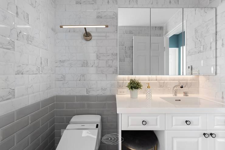 復古歐風X美式鄉村:  浴室 by 層層室內裝修設計有限公司
