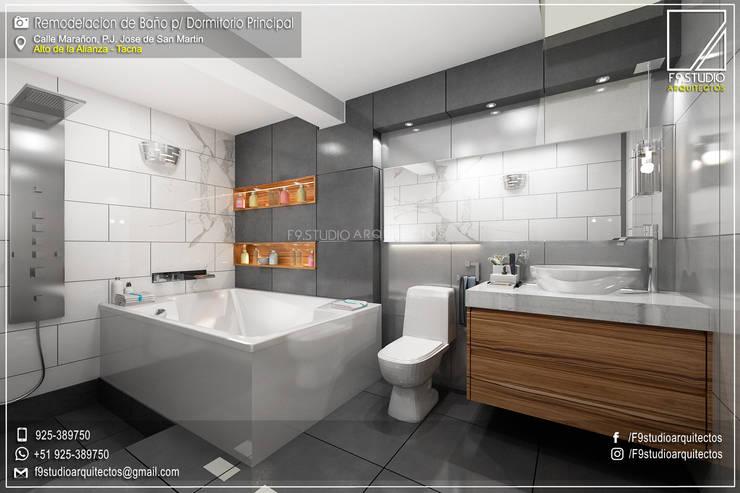 Diseño y Remodelacion de Baño Principal en Tacna-Perú:  de estilo  por F9.studio Arquitectos,