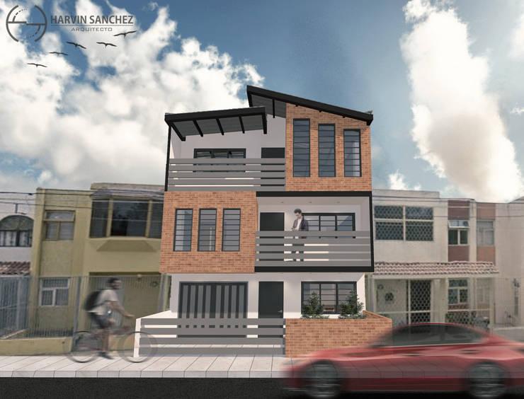 Vivienda de 3 pisos independientes: Casas multifamiliares de estilo  por Arquitecto Harvin Sanchez Areniz