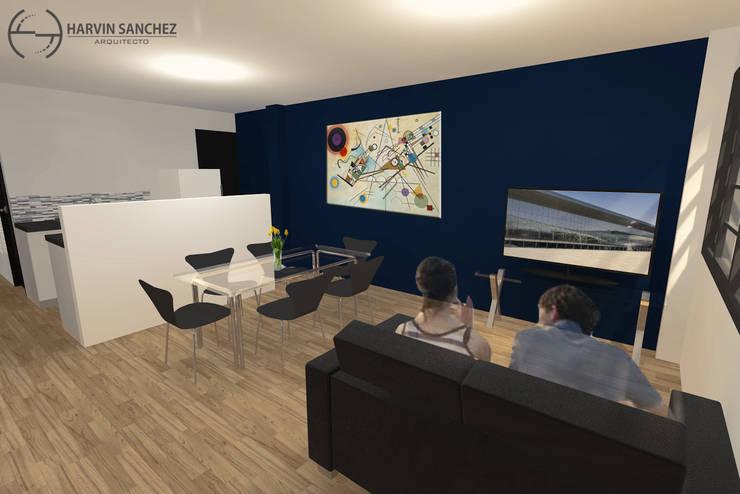Vivienda de 3 pisos independientes Salas modernas de Arquitecto Harvin Sanchez Areniz Moderno