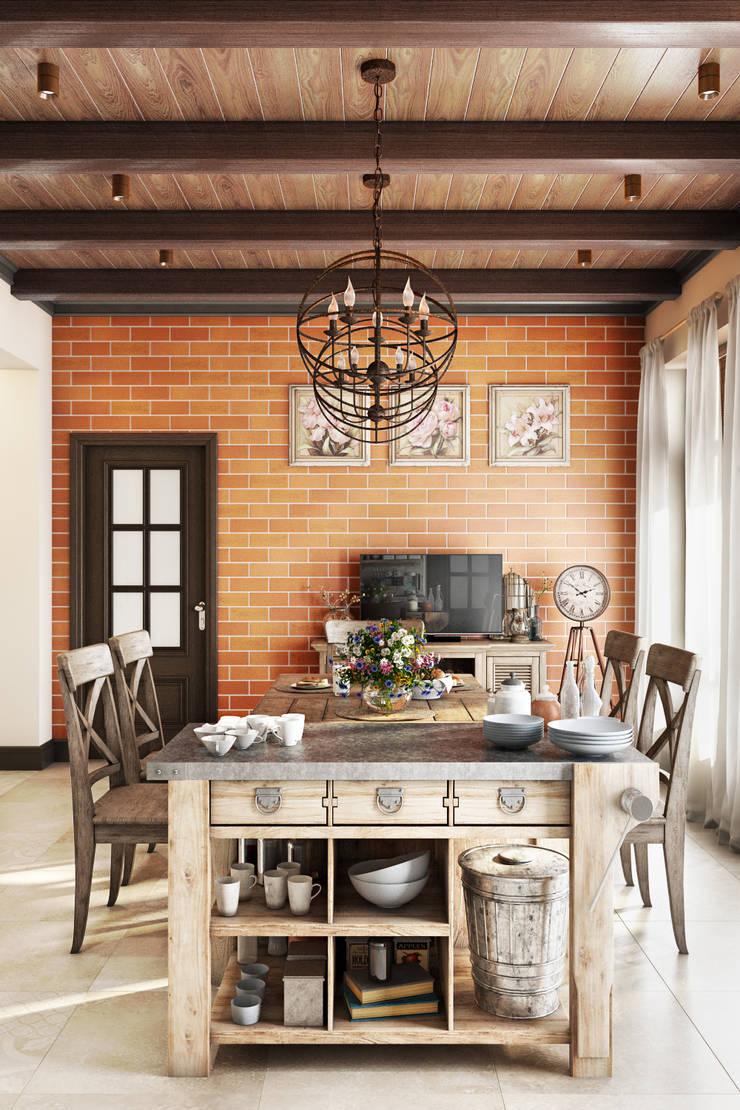 Country Loft: Столовые комнаты в . Автор – Zibellino.Design, Кантри