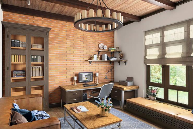 Country Loft: Рабочие кабинеты в . Автор – Zibellino.Design, Кантри
