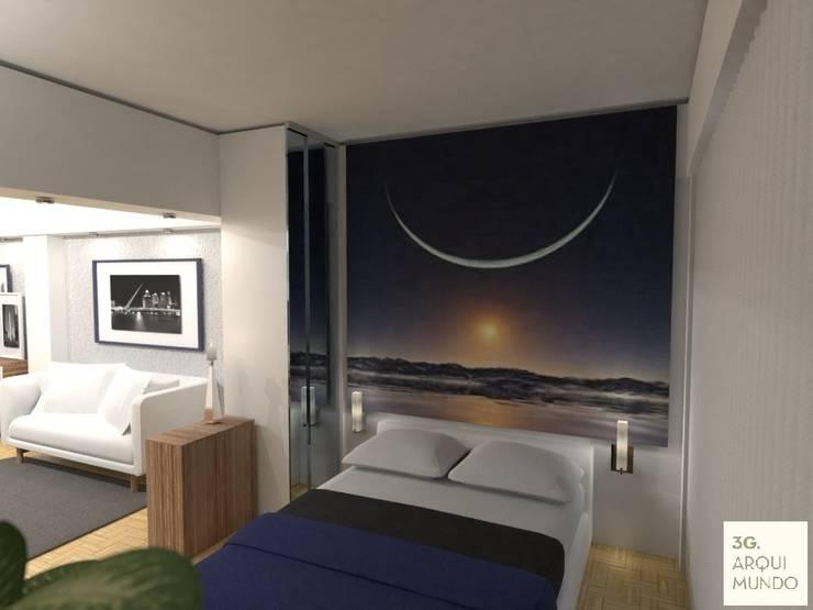 Monoambiente - Palermo : Dormitorios de estilo  por Arquimundo 3g - Diseño de Interiores - Ciudad de Buenos Aires