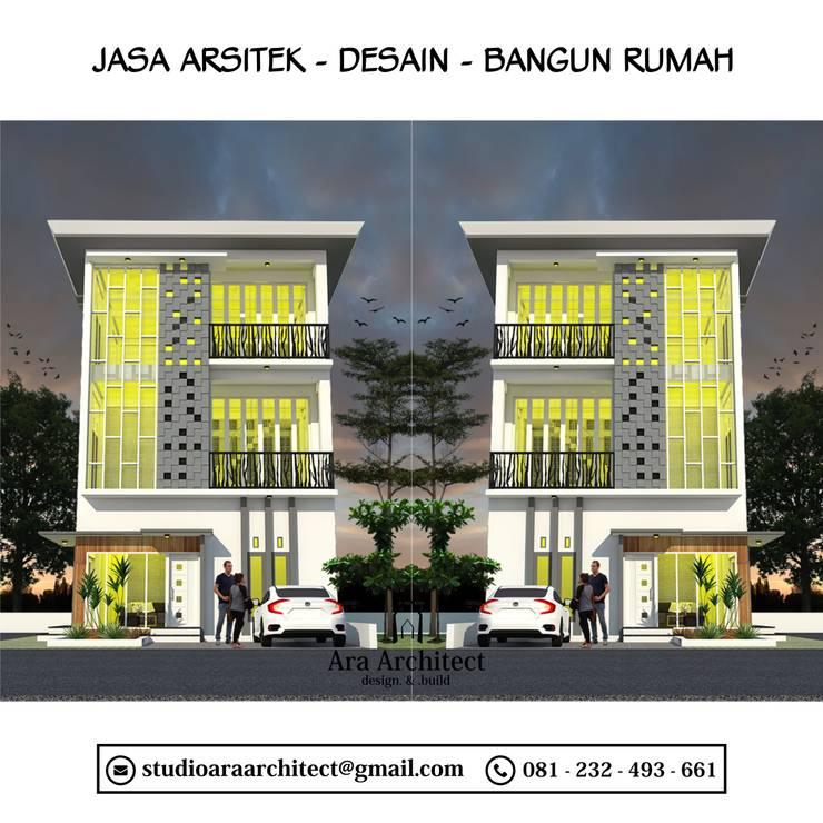 Desain Rumah Tiga Lantai Bapak Udin Blitar:   by Ara Architect Studio