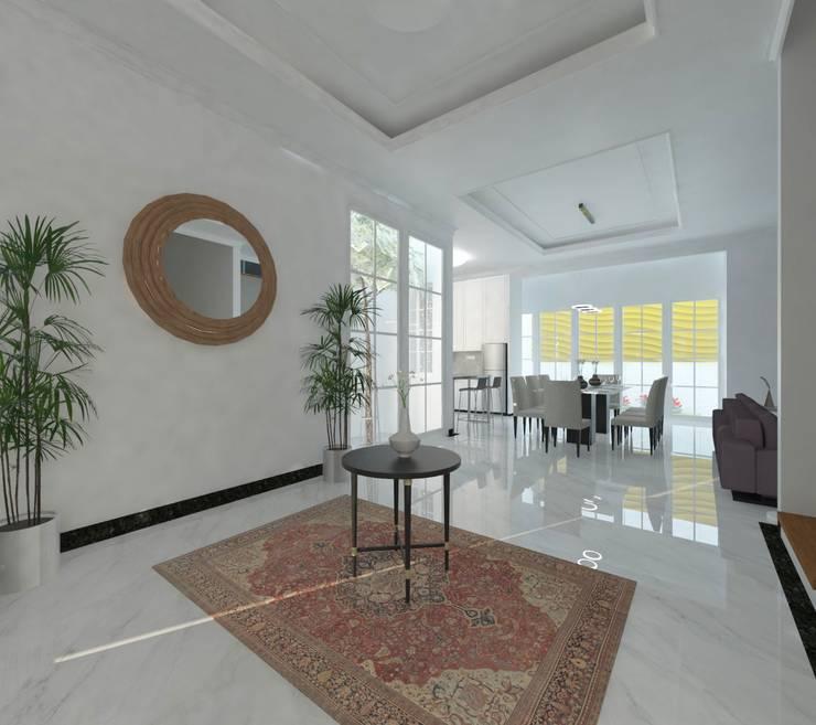 Foyer:  Koridor dan lorong by Atelier BAOU+