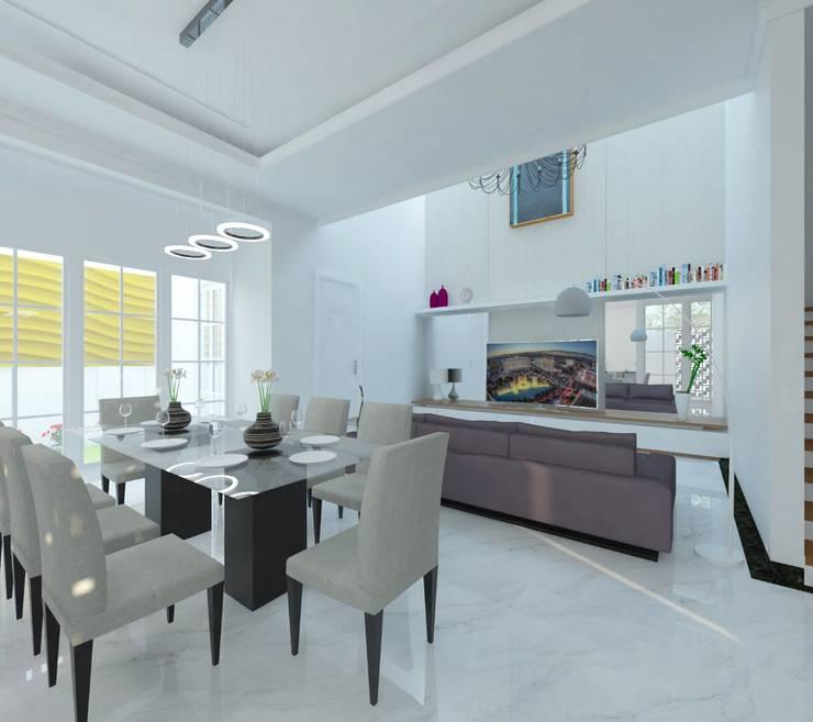 Ruang Makan dan Ruang Keluarga:  Ruang Makan by Atelier BAOU+