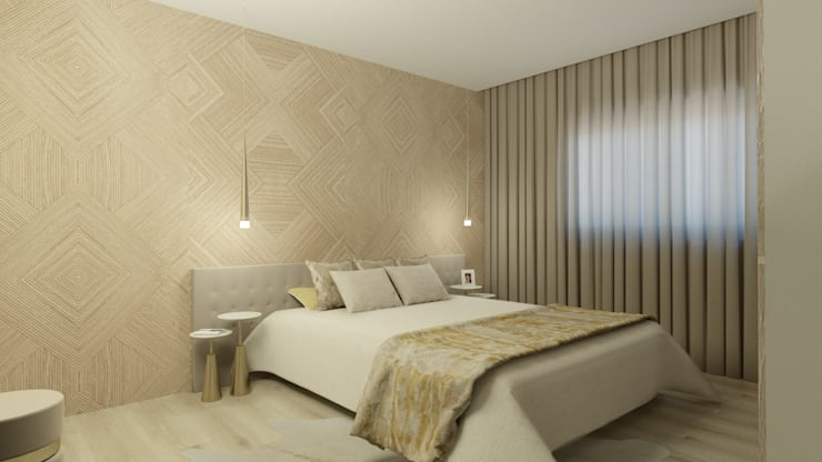DECORAÇÃO SUITE CASAL MODERNA : Quarto  por Glim - Design de Interiores