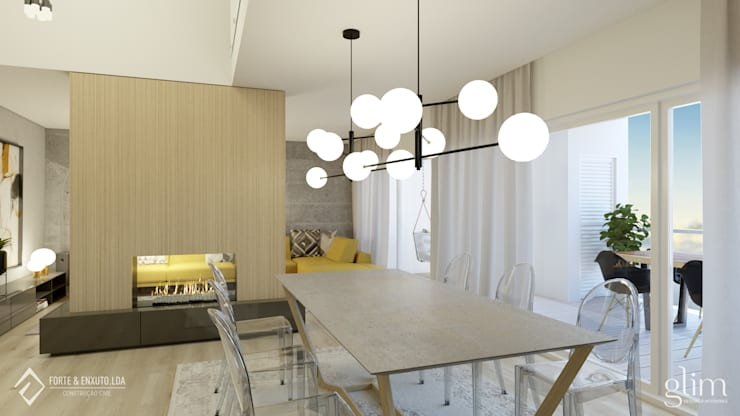 CANDEEIRO SALA DE JANTAR MODERNO: Sala de jantar  por Glim - Design de Interiores