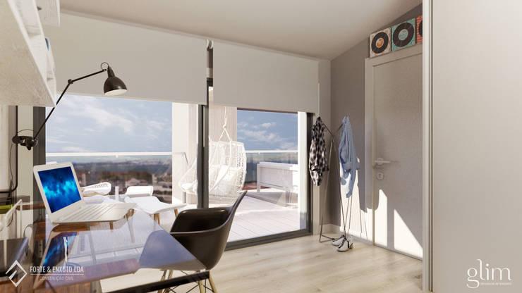 QUARTO DE RAPAZ: Escritório  por Glim - Design de Interiores