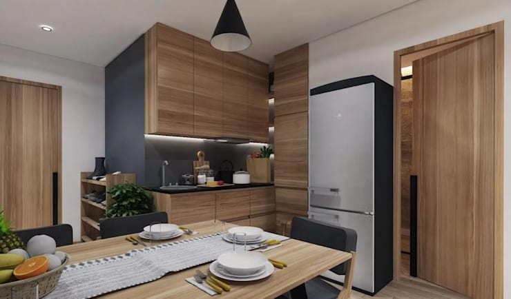 Gallery West Apartment:  Dapur built in by Jati and Teak