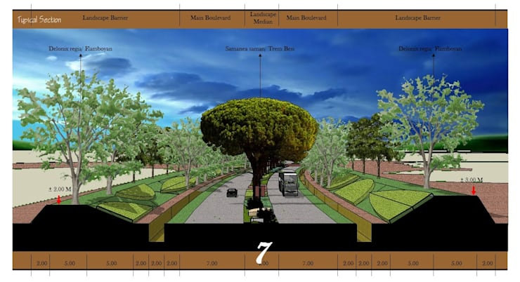 Landscape Urban Boulevard:   by Cipta Kreasi Flora