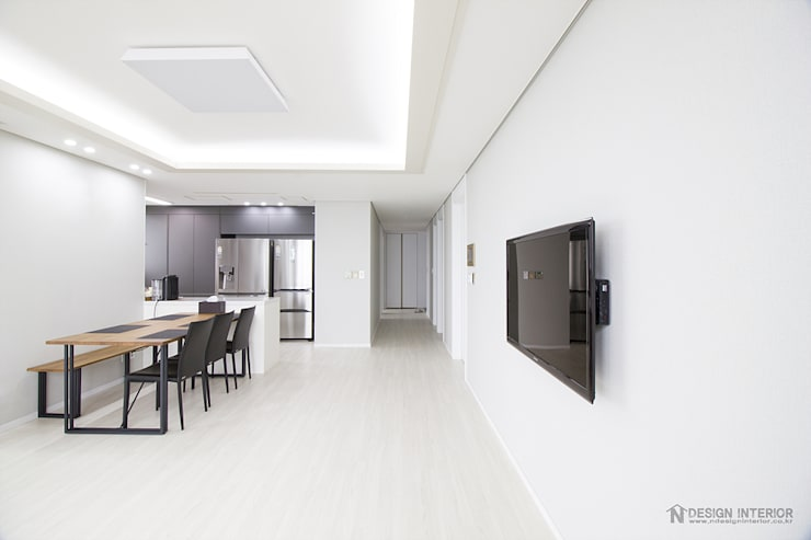 동탄인테리어 메타폴리스 40평대 주상복합 아파트인테리어 by.n디자인인테리어: N디자인 인테리어의  거실,