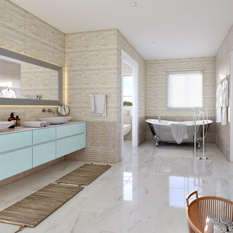 Master bathroom view 2:   by Linken Designs