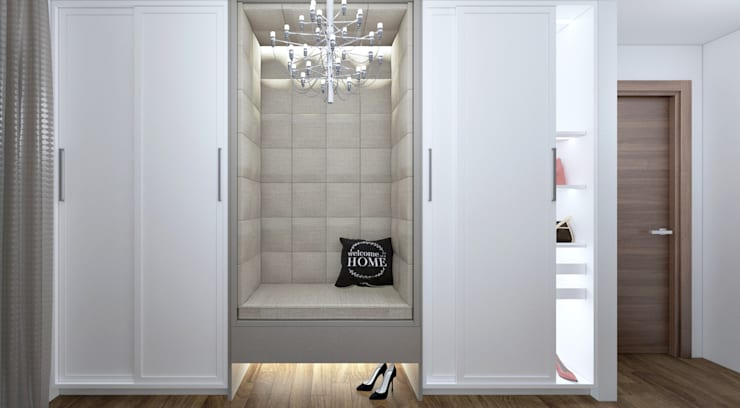 Walk in closet view 1:   by Linken Designs